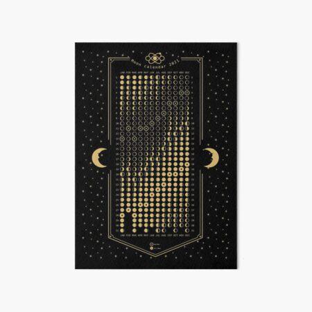 2021 Moon Phase Calendar EST Art Board Print