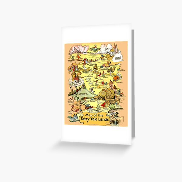Brothers Grimm Map of the Fairy Tale Lands Folktale Stories Greeting Card