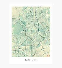 Madrid Map Blue Vintage Photographic Print