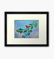 Little red bird acrylic painting Framed Print