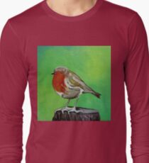 Young robin perched on a tree stump acrylic painting T-Shirt