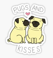 Pugs and Kisses - White Edition Sticker