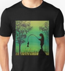 Child fishing in the river acrylic painting T-Shirt