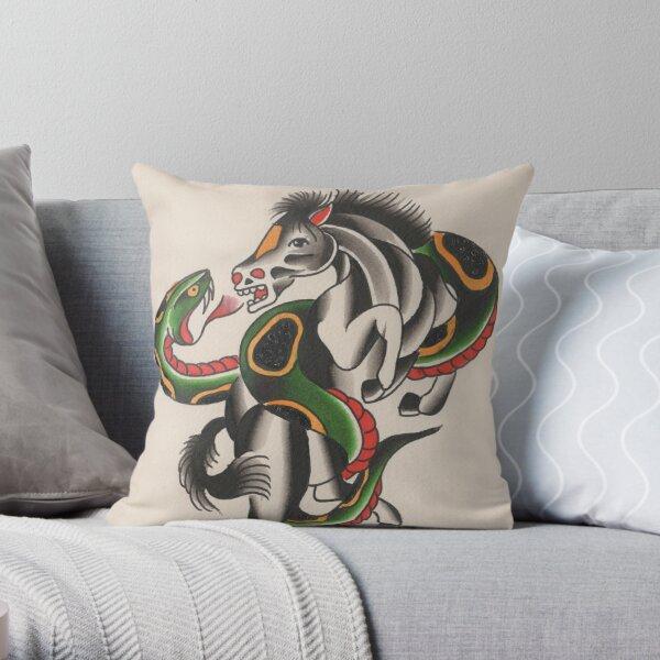 Horse Vs Snake Throw Pillow