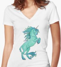 Unicorn SeaBorn right Women's Fitted V-Neck T-Shirt