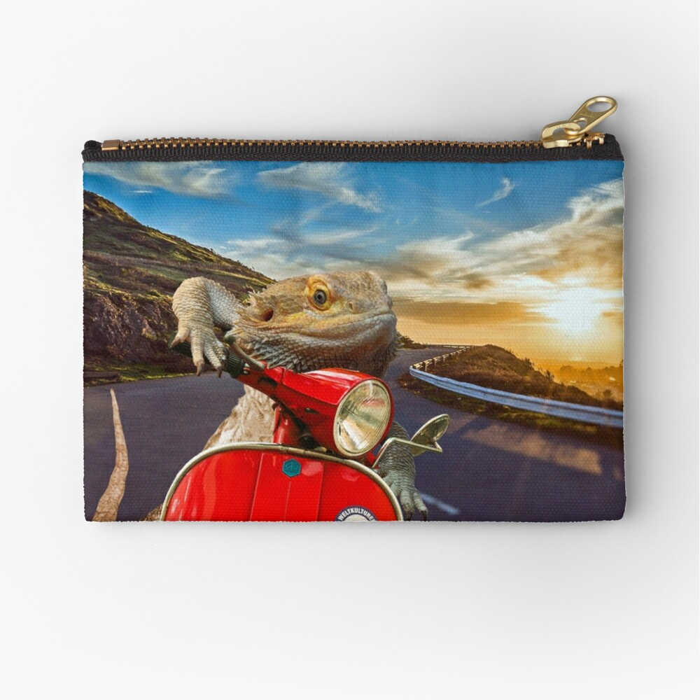 Bearded Dragon Sunset Vespa Roadtrip Zipper Pouch