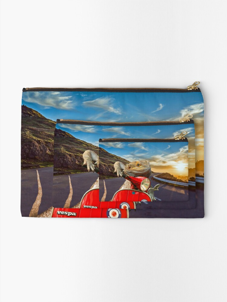 Alternate view of Bearded Dragon Sunset Vespa Roadtrip Zipper Pouch
