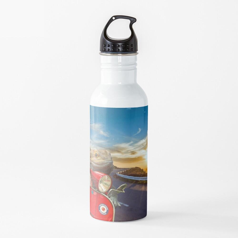 Bearded Dragon Sunset Vespa Roadtrip Water Bottle