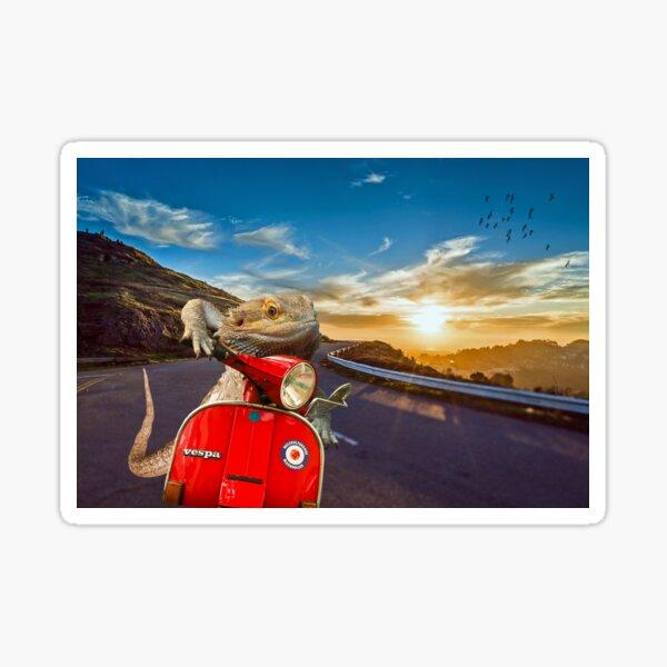 Bearded Dragon Sunset Vespa Roadtrip Sticker