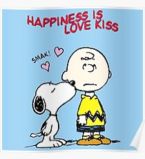 Charlie Snoopy Happines Love Kiss Poster