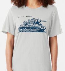 T-34 Russischer Wohnwagen Slim Fit T-Shirt