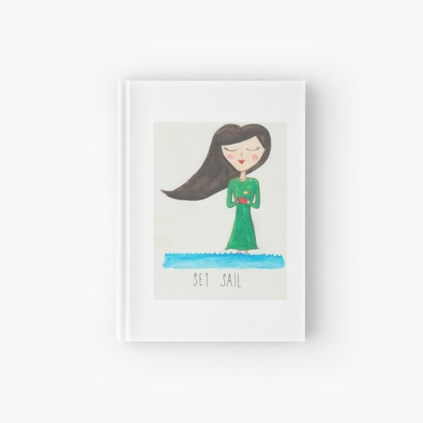 Watercolor painting - whimsical character art Hardcover Journal