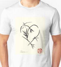 Kyuzo - Sumie ink brush black heart painting T-Shirt