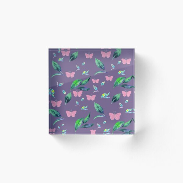 Leaves and flowers pattern Acrylic Block