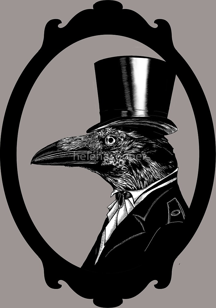 Raven in top hat without background by helenacooper