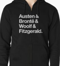 Classic Literature Authors - White Helvetica (Austen and Bronte and Woolf and Fitzgerald) Zipped Hoodie