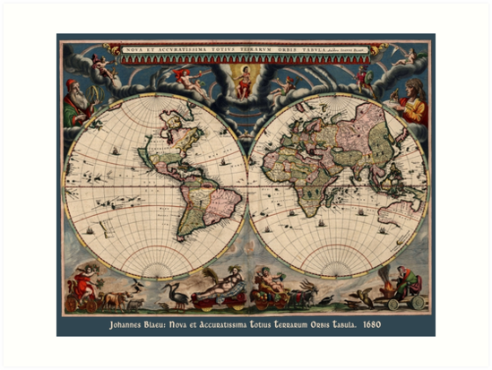 Blaeu World Map.Willem Janszoon Blaeu Map Of The World Art Prints By Greenbaby