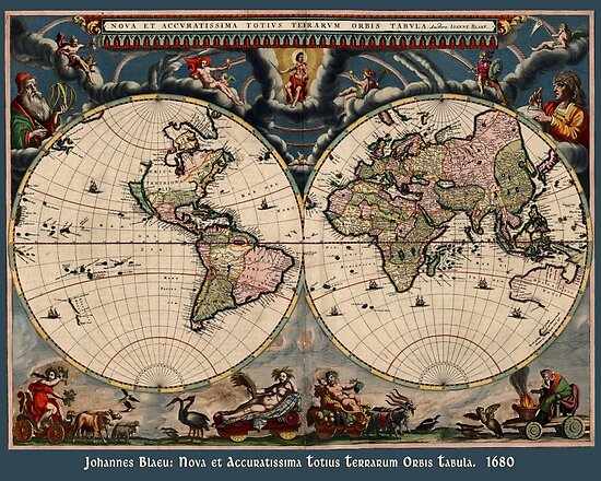 Blaeu World Map.Willem Janszoon Blaeu Map Of The World Posters By Greenbaby Redbubble