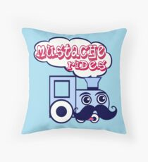 Mustache Rides Throw Pillow