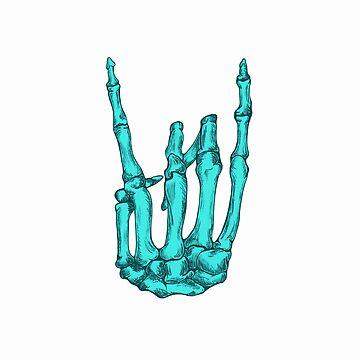 Aqua Rock On Skeleton Hand by BonesToAshes