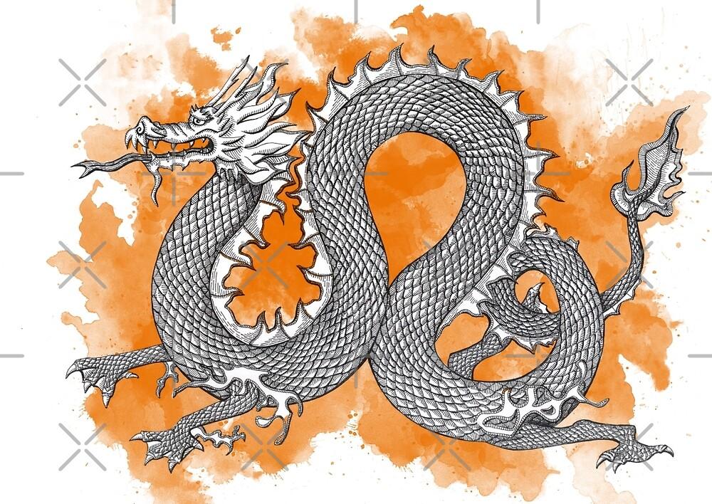 Orange dragon by helenacooper