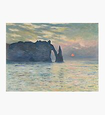 Claude Monet - The Cliff, Étretat,  Sunset  Impressionism Photographic Print