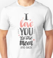 I Love You To The Moon Back Red T-Shirt