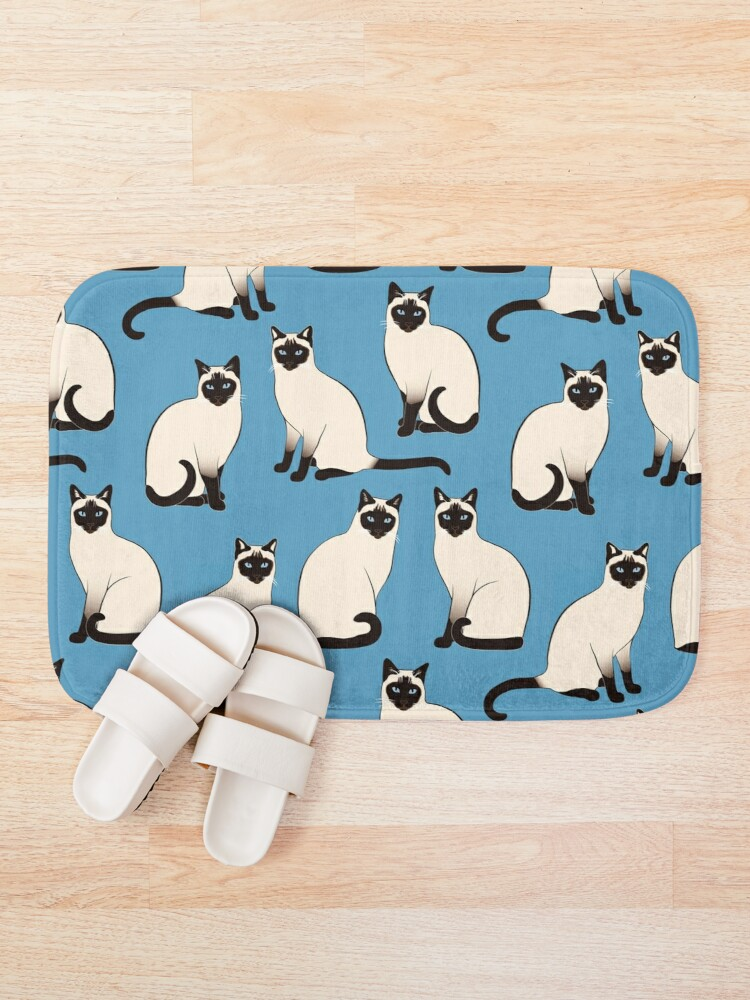 Alternate view of Siamese Cats sparse on blue Bath Mat