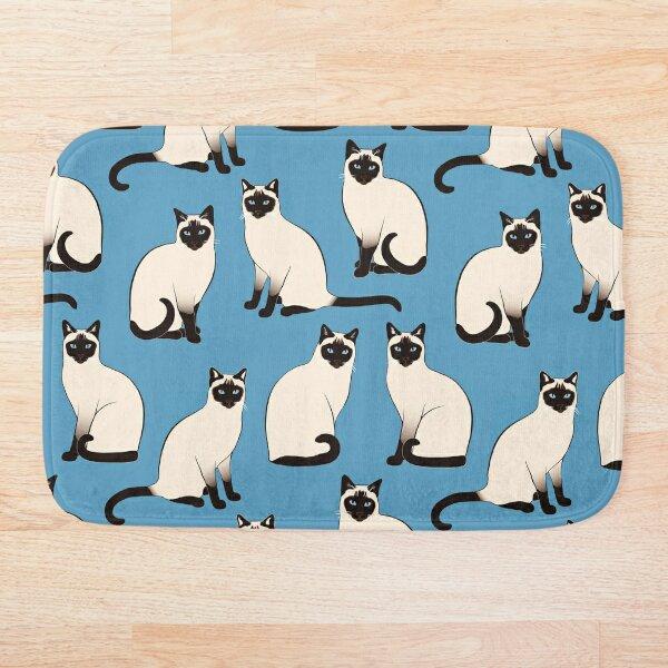 Siamese Cats sparse on blue Bath Mat