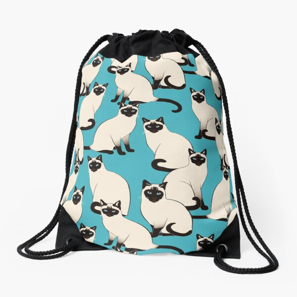 Siamese Cats dense on turquoise Drawstring Bag
