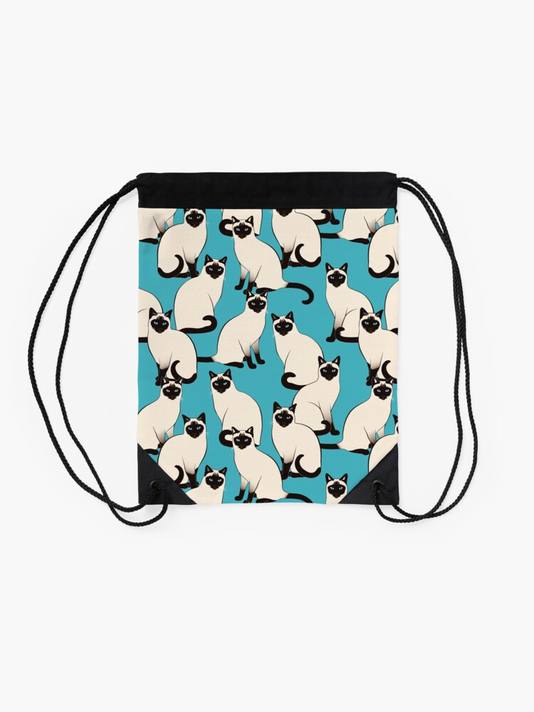 Alternate view of Siamese Cats dense on turquoise Drawstring Bag