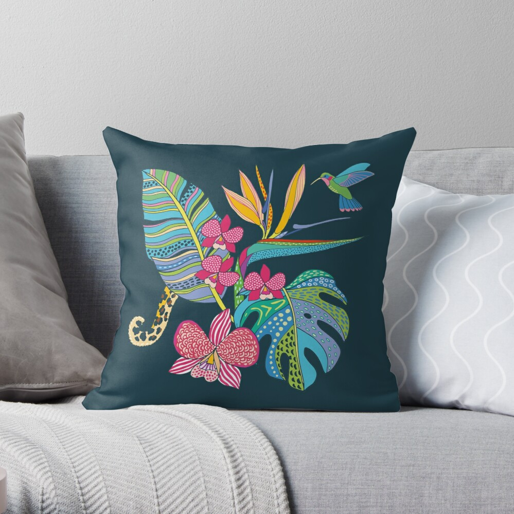 Bohemian Tropical Flowers Throw Pillow