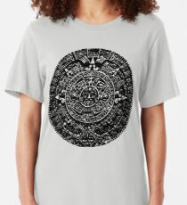 Mexican Mayan Calender the Aztec Sun Stone Slim Fit T-Shirt