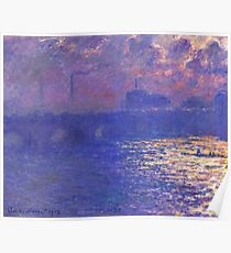 Claude Monet - Waterloo Bridge.  Sunlight Effect , Impressionism Poster