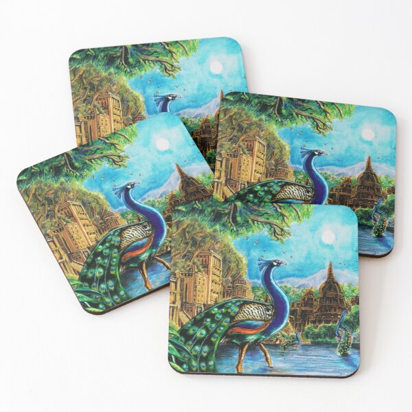 Peacocks across the Stream of Serenity Coasters (Set of 4)