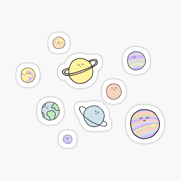Cute Pastel Planets Sticker