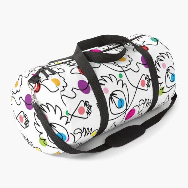 One line folk flowers  Duffle Bag