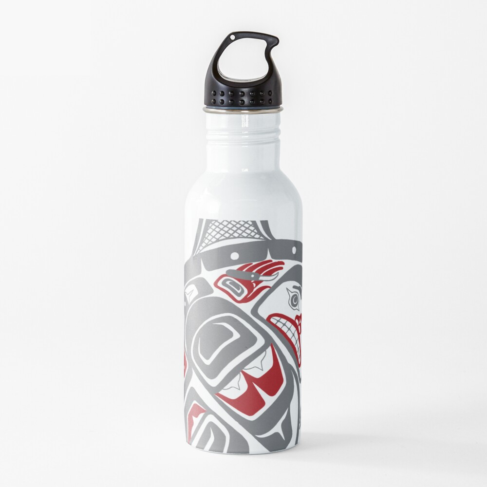 BLACKFISH - PNW native, Tlingit style orca killer whale GRAY Water Bottle