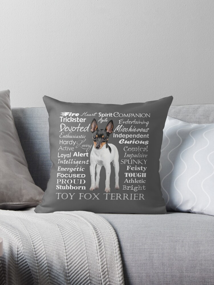 Toy Fox Terrier Traits Throw Pillow By Doglove Redbubble