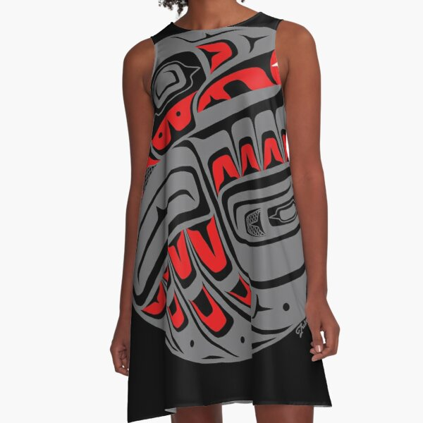 Raven Steals The Sun, Tlingit style, in gray A-Line Dress