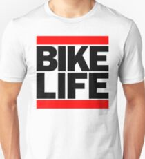 Run Bike Life DMC Style Moped Bikelife Motorcycle Gang Red & Black Logo T-Shirt