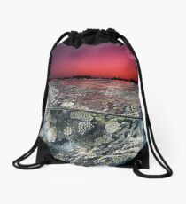 Sunset Over the Red Sea Reef Drawstring Bag