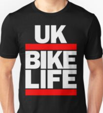 Run UK Bike Life DMC Style Moped Bikelife Motorcycle Gang Red & White Logo Unisex T-Shirt