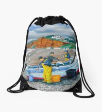 Budleigh Salterton Fishing Boat Drawstring Bag