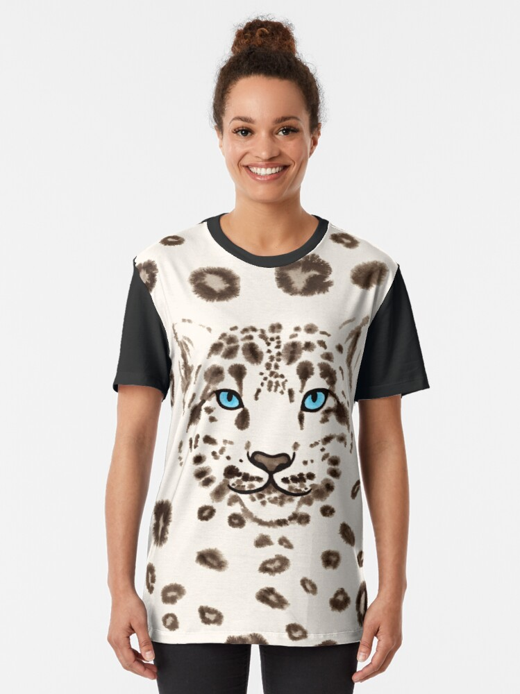Alternate view of Watercolor Snow Leopard 1 Graphic T-Shirt