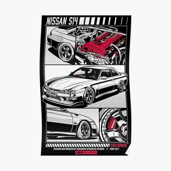 Nissan Silvia S14A Kouki - CarCorner Poster