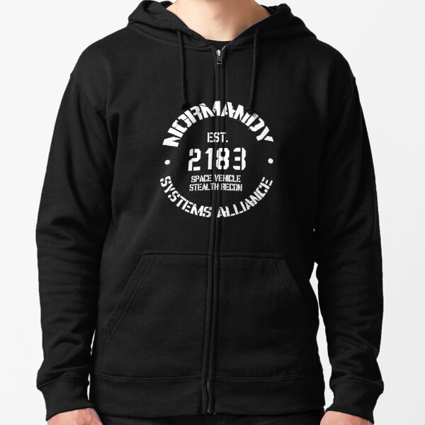 SSV Normandy Athletic Shirt | Mass Effect Athletic Style | Black Print Zipped Hoodie