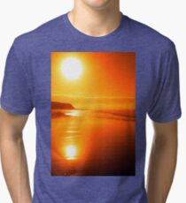 distant cliffs on a sunsey beach Tri-blend T-Shirt