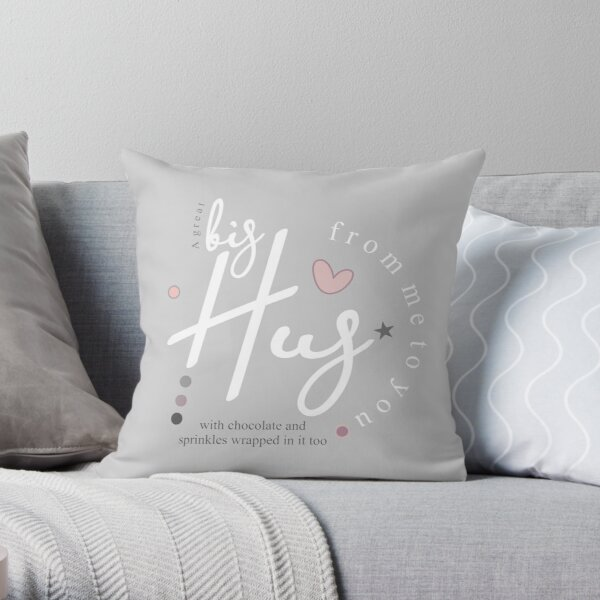 Send love with this big hug filled with chocolate and sprinkles. A missing you gift range in soft pastel grey, white and baby pink Throw Pillow