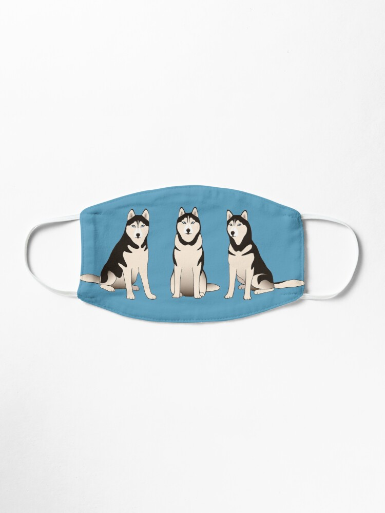 Alternate view of Husky Dogs on blue Mask